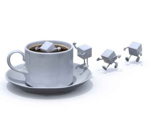 sugar cubes cartoon that plunge into the cup of coffee