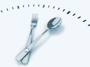 Spoon and fork as a clock
